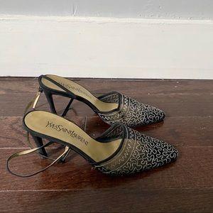 Yves Saint Laurent Shoes - YVS Vintage Slingback Mesh Kitten Heels Sz 6.5